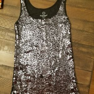 Charcoal gray sequin tank